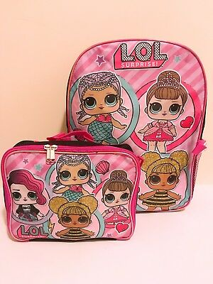 "16"" LOL Surprise Dolls Back to School Book Bag Backpack Detachable Lunch Box NEW"