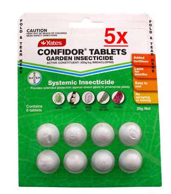 5x Confidor 8 x Tablets Systemic Insecticide Yates 20g Protects Roses Azaleas Et