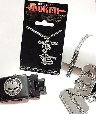 Alchemy POKER LOT ~ THE OFFSPRING ~ Dog Tag Pair, TWO Pendants & Belt Buckle