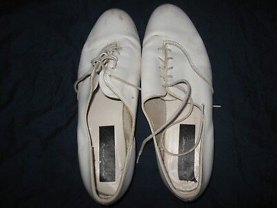 Pinwheel Clogging Tap Dance Shoes White Leather Women's Sz 8 or 8.5 8 1/2
