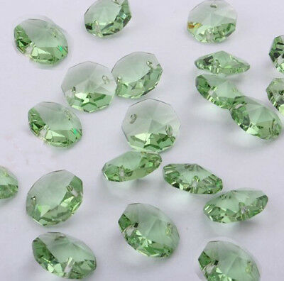 100pcs 14mm green Crystal Octagonal beads Decoration Crystal chandelier parts #1