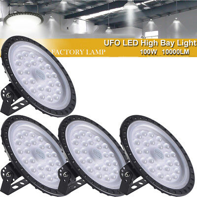 4X 100W UFO LED High Bay Light Fixture Warehouse Industrial Lamp Shed Gym 240V