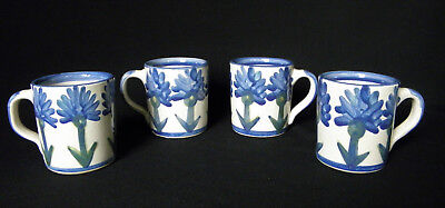 4 Louisville Stoneware Bachelor Button Blue Cornflower Coffee Tea Mugs