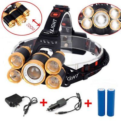 80000LM 5-LED Zoom LED Rechargeable 18650 Headlamp Head Light Torch Charger US P