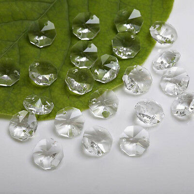 100pcs 12mm clear octagon beads crystal chandelier lamp parts prism ornament #02