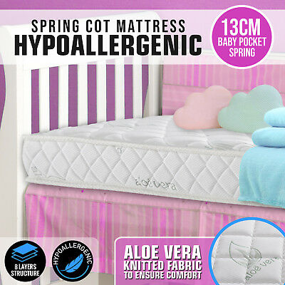 NEW Baby Toddler Cot INNERSPRING LATEX Airflow Boori Grotime Love ALOE Mattress