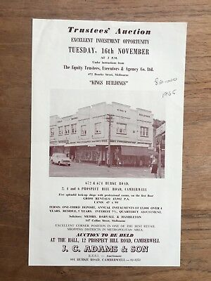 "1965 Auction Poster ""kings Buildings"" 672 & 674 Burke Rd Camberwell F148"
