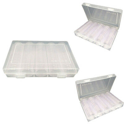 100Pcs Clear Round Plastic Coin Container Storage Box Holder Case 27mm 30mm AU