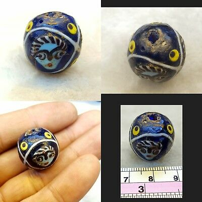 Very Rare And  Beautiful Old Unique Mosaic Gabree Beads With 2 Faces  Around #r5