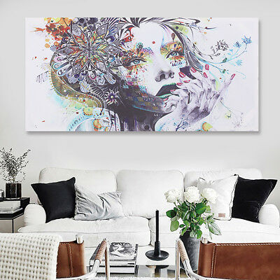 16-24'' Abstract Girl Flower Canvas Print Painting Wall Pictures Framed Unframed