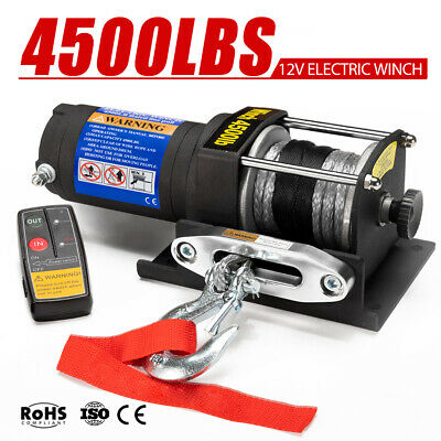 12V 4500LBS / 2041Kg Wireless Electric Winch Synthetic Rope ATV 4wd Boat 12Volt