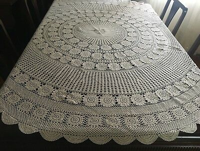 CROCHET Beige, Round Tablecloth 160 diameter - Lovely Con