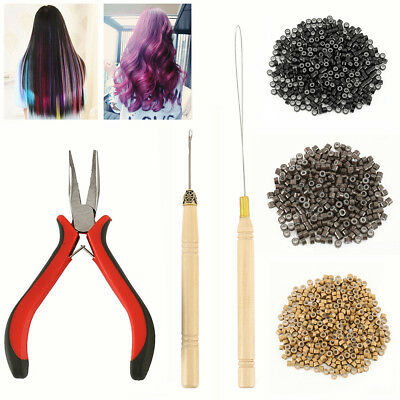 Hair Extensions Pliers Hook Tool Kit For Micro Rings Loop+500pcs Silicone Beads.