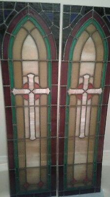 Architectural Salvage, Stained, leaded glass pair of  matching church windows