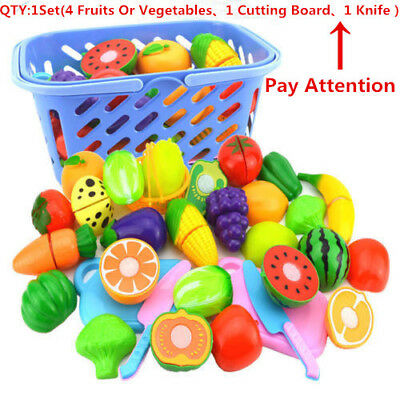 Kids Kitchen Fruit Vegetable Food Pretend Role Play Cutting Set Toy Affordable