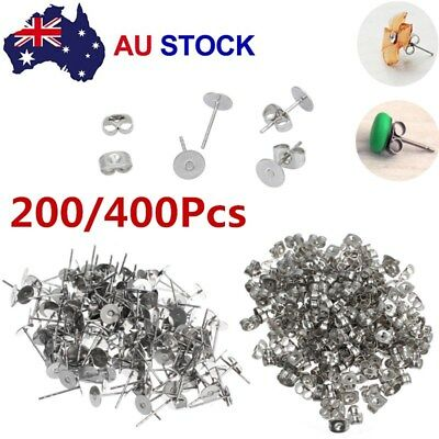 200/400PCS Earring Stud Posts Pads & Nut Backs Silvery Surgical Steel DIY Craft