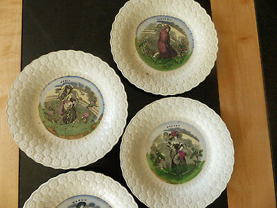 4 ANTIQUE CREAMWARE POTTERY MONTHS OF THE YEAR CHILDRENS PLATES/ PLATE c1800's