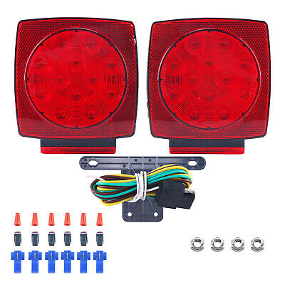12V LED Submersible Trailer Tail Light Kit Stop Tail Turn Signal Lights Truck RV