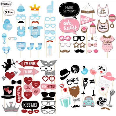Baby Shower Photo Booth Props Little Boy Girl New Born Party Decoration Favors