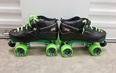 Black GT-50 Quad Roller Speed Skates w/Green 62mm Clawz Wheels -Size 9