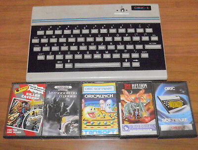 oric-1 (oric atmos modified) with 6 books and 5 tapes