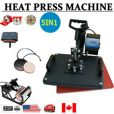 NEW 5in1 Heat Press Machine Digital Transfer Sublimation T-Shirt Mug Hat Plate