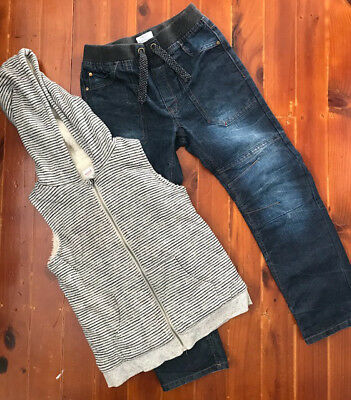 Boys SEED fur lined vest and PATCH jeans size 8-9