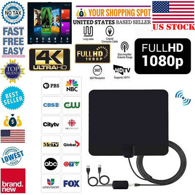Antenna TV Digital HD 200 Mile Range Skywire TV Indoor 1080P 4K 12ft Coax Cable