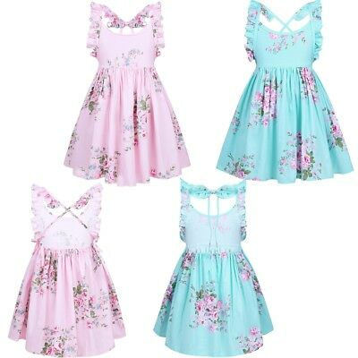 Baby Girls Backless Floral Dress Kids Party Flower Birthday Party Tutu Sundress