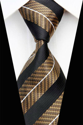 Brown Black Stripe Man Classic JACQUARD Woven Necktie Tie Casual Formal