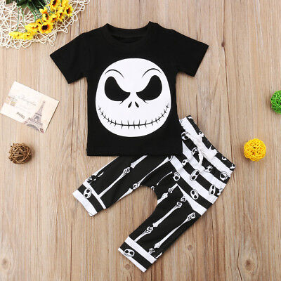 UK Halloween Baby Kids Boys Clothes Ghost T-shirt Tops Harem Pants Outfits Set