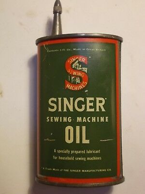 Old SINGER Sewing Machine Lead Top 3oz. Handy Oil can. G/VG