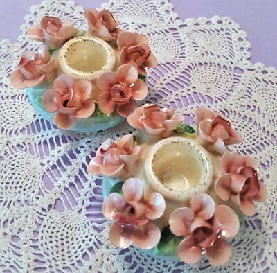 Vintage/Shabby Chic *PAIR CANDLE STICK HOLDERS* Pink Applied Flowers JAPAN vgc