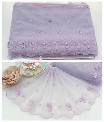 """8""""*1Y Embroidered Floral Tulle Lace Trim~3D Raised~Sweet Lilac~Cute Spirits~RARE"""
