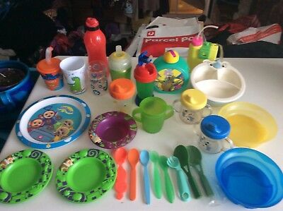 Bulk lot baby toddler feeding plates sippy cups cups spoons drink bottle cutlery