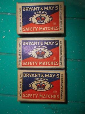 Vintage Bryant & May Crown safety Matches 3 matchboxes Australia with content