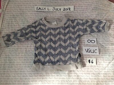 Boys Girls Bonds winter Grey Chevron Jumper Sweater Top Warm size 00 Baby