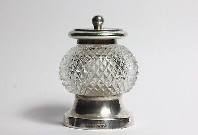 Sterling silver antique  cut glass pepper mill 1890 John Grinsell & Sons