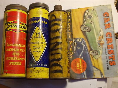 3 Old Large Car Repair Outfit Tins. 2  Dunlop, Goodyear. + Booklet.