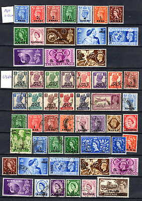 Oman Muscat Boea 1944-1954 Kgvi Qeii Selection Of Mh & Used Stamps 2 Scans