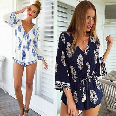AG_ Women's Long Sleeve V-neck Rompers Floral Printed Casual Beach Jumpsuits Sho