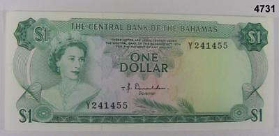 1974 Central Bank Of The Bahamas $1 Note W/ Colorful Fish On Reverse Crisp #4731