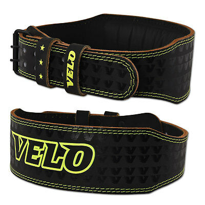 "VELO 4"" Weight Lifting Leather Belt Gym Back Support Strap Power Training Strap"