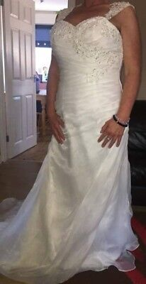 Ivory ruched wedding dress with lovely beaded back, size 14. Never been worn.