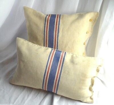 Pair of unique French pure linen cushion coversm, grain sack cushion covers