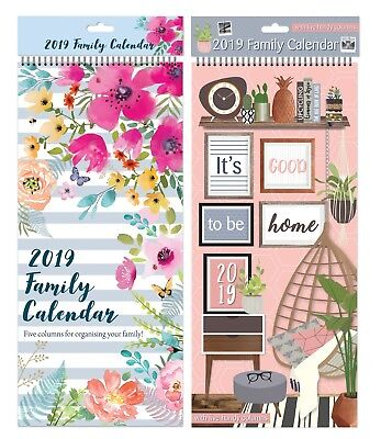 2019 Family Organiser Large Slim Spiral Planner Calendar 5 Columns Month to View
