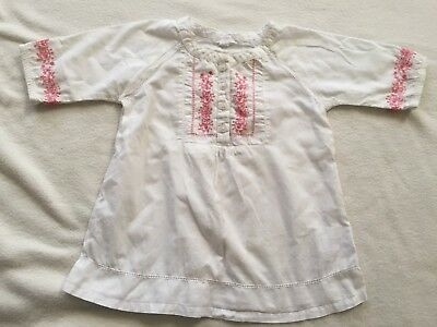 Purebaby Girl's Pink Embroidered 3/4 Sleeved Top Size 1 (Blouse)