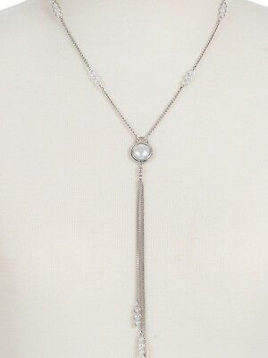 Lucky Brand Silver Tone Imitation Mother of Pearl Stone Lariat Necklace, NWT
