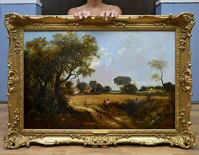 Fine Large Original Antique 19thC Oil Painting Children & Dog Summer Landscape