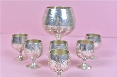 Set of 7 Vintage Goblets EPNS Silver Plated 7 Miniature 1x Large In Box
